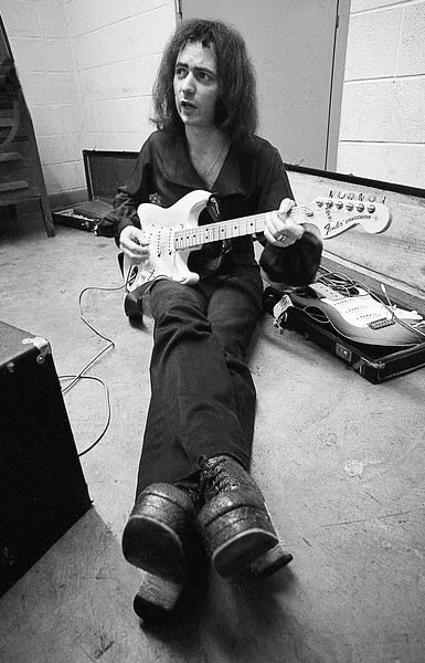 Ritchie Blackmore Tunes his guitar in 1971