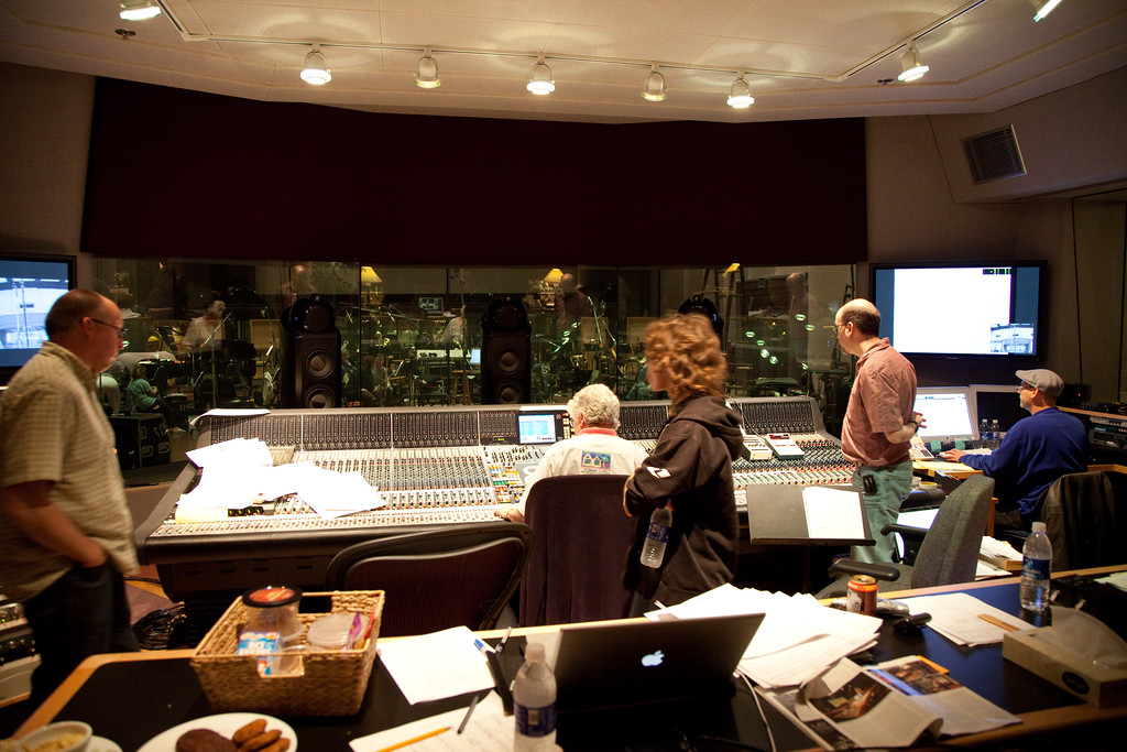 In the control room. This is one of the last great soundstages in the US. There are only three sound boards like this in America.