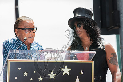 HOLLYWOOD, CA - JULY 10:  Producer Robert Evans (L) and guitarist Slash attend Slash's Hollywood Walk of Fame ceremony on July 10, 2012 in Hollywood, California.  (Photo by Chelsea Lauren/WireImage)