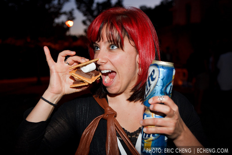 Tori Lindsay with s'mores and beer (SLSQ Summer Chamber Music Seminar 2010)