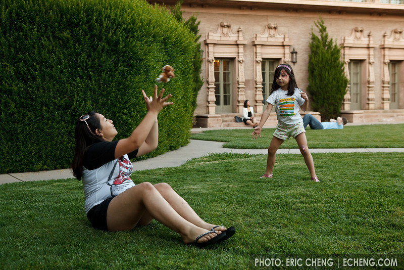 Zoe and Isabella play catch (SLSQ Summer Chamber Music Seminar 2010)