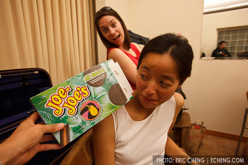 Jessica Chuang Seeliger, Shannon Thomas and a box of Joe-Joe's (why is that possessive?) (SLSQ Summer Chamber Music Seminar 2010)