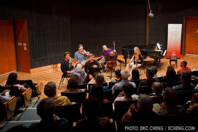 Rob Kapilow is a blur during a What Makes It Great talk featuring the SLSQ (SLSQ Summer Chamber Music Seminar 2010)