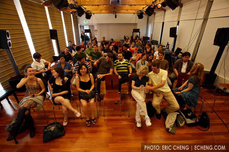 The audience for Eric Cheng's underwater photography talk at CCRMA (SLSQ Summer Chamber Music Seminar 2010)