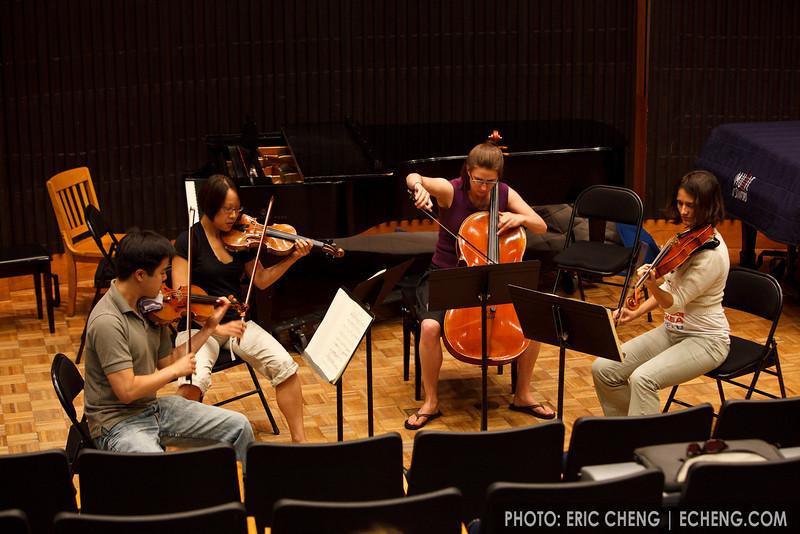 Mouni Quartet at masterclass: Leyan Lo, Christine Choi, Allyson Weunschel, Anna Wittstruck (SLSQ Summer Chamber Music Seminar 2010)