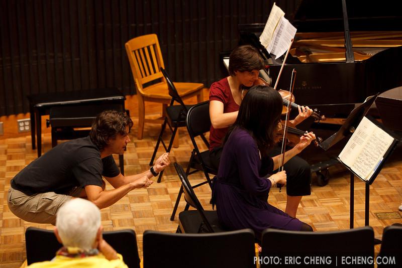 Geoff Nuttall coaches the Quartet Impromptu: Iris Otani, Joelle Barral, Julie Saiki, Jim Zehnder (SLSQ Summer Chamber Music Seminar 2010)
