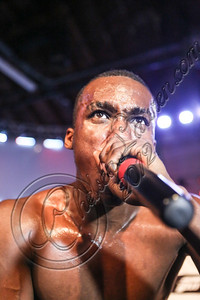 HOLLYWOOD, CA - AUGUST 10:  Rapper Hopsin performs at the Sneaker Pimps 10 year anniversary tour at Vanguard on August 10, 2012 in Hollywood, California.  (Photo by Chelsea Lauren/WireImage)