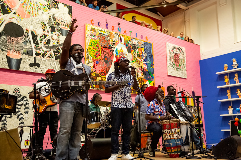 Lakou Mizik at Solid Sound Festival 2019. Photo by Tony Vasquez
