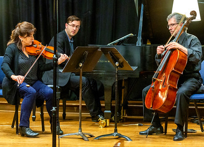 Aloysia Friedmann, Andrew Staupe, and Barrett Sills rehearsing Beethoven Opus 1 trio