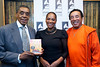 "(L-R) Soul Train creator Don Cornelius leads The Grammy Museum's 40th Anniversary Tribute to An American Institution, with one time Soul Train dancer Jody Watley and legendary R&B icon Smokey Robinson, In promotion of the new ""Best of Soul Train"" DVD on Wednesday Sept. 8, 2010 in Los Angeles<br /> (AP Photo/Earl Gibson III)"