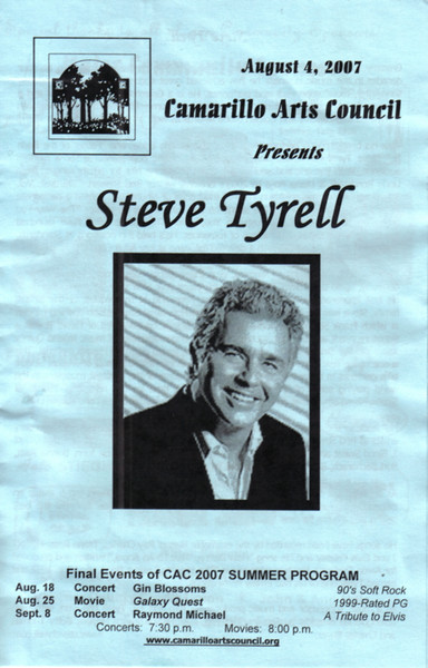 "<a href=""http://stevetyrell.com""> Steve Tyrell's website</a> lists his albums and the friends he has in the business.  Sinatra, Bacharach and more.  It's an interesting read, but not as interesting as his concert was.  It was a true treat and memorable experience.  If you were there or just want to hear the music you can also visit  <a  href=""http://www.myspace.com/stevetyrell"">Steve's place on MySpace.</a>  Here's two samples of Steve performing: <a href=""http://www.youtube.com/watch?v=R9UzYyZ8uzw"">Steve Tyrell sings on the Tonight show</a><br> <a href=""http://www.youtube.com/watch?v=4fnV191tKWQ"">Steve on Making of the Disney Standards Album</a>  In a later picture in this gallery a link to a personal love story."