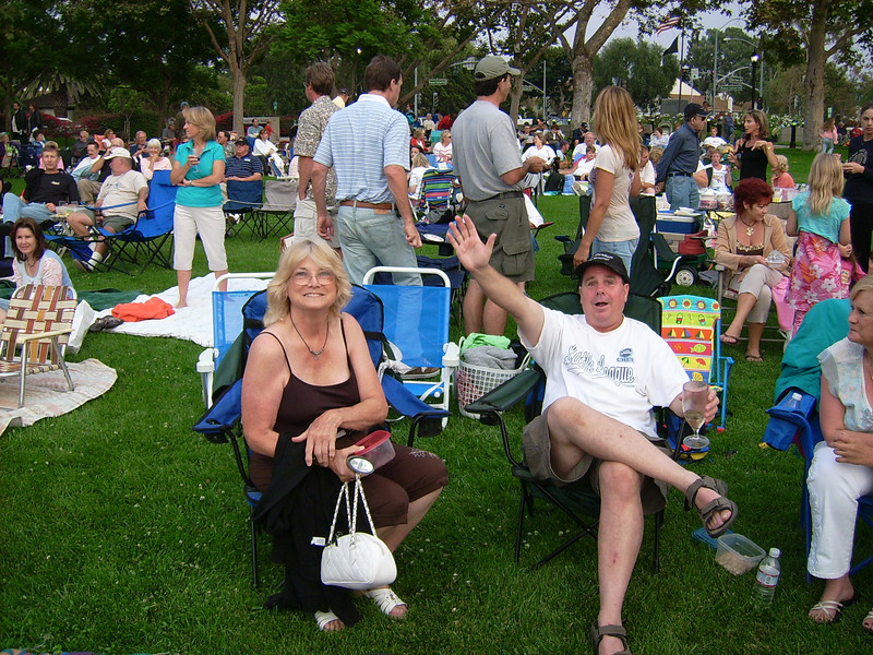 Found - friendly Conejo Ski Club memers ready for the Steve Tyrell concert in the park in Camarillo