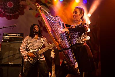 Deborah Henson-Conant strums her electric harp.