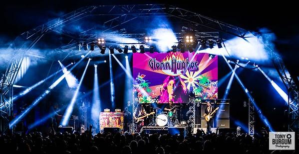 Legendary  former Deep Purple Bass player Glen Hughes playing the Tommy Vance stage  at Stonedeaf festival 2019. Featuring Glen Hughes on Vocals & Bass; Soren Anderson - Guitar; Jesper Bo Hansen - Keyboards and Fernando Escobedo on Drums   © Tony Burgum