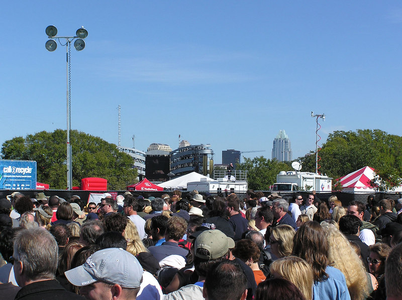 Waiting for the gates to open, the stage against Austin skyline