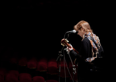 Suzanne Vega at sound check, Symphony Space, NYC.
