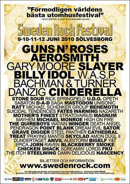 Sweden Rock 2010 Poster