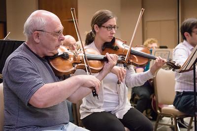 Yakov Shapiro (Concertmaster), Rachel Hewitt -- Symphony of the Potomac rehearsal, May 2014