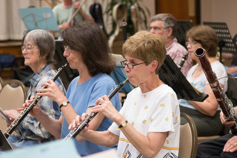 (R to L) Judy Gadol, Susan Herlick, Barbara Stuckey -- Symphony of the Potomac rehearsal, May 2014