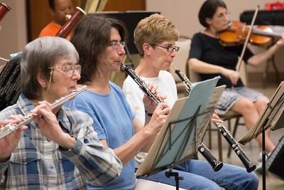 (L to R): Barbara Stuckey, Susan Herlick, Judy Gadol -- Symphony of the Potomac rehearsal, May 2014