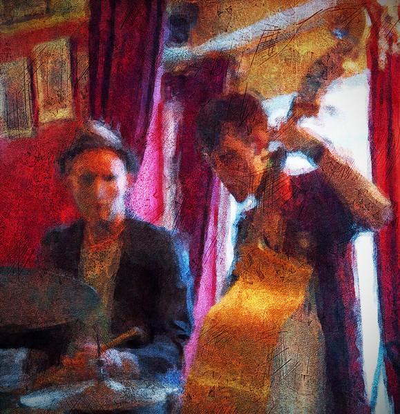 "BassDrum.<br /> Savery / Snejbjerg / Buhl / Schierling at ""Tango & Vinos"" bar, Copenhagen, Denmark.<br /> Photo painted in Corel Painter made with digital impressionist chalk brush + texture layers."