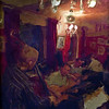 "Django Jewels.<br /> Rasmus Venebold bass, Michael Dahl guitar and Fleming Honnig rythm guitar of ""Swing Partout"" playing Django Reinhardt at ""Tango y Vinos"" bar, Copenhagen, Denmark.<br /> Photo painted with smeary oil brush in Corel Painter."