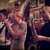 Intensify.<br /> Guitar Troels Lund,vocal Line Bøgh and sax Steve Green og Nova Blue band at Tango y Vinos bar, Copenhagen, Denmark.<br /> Partly out of focus photo with texture layers.