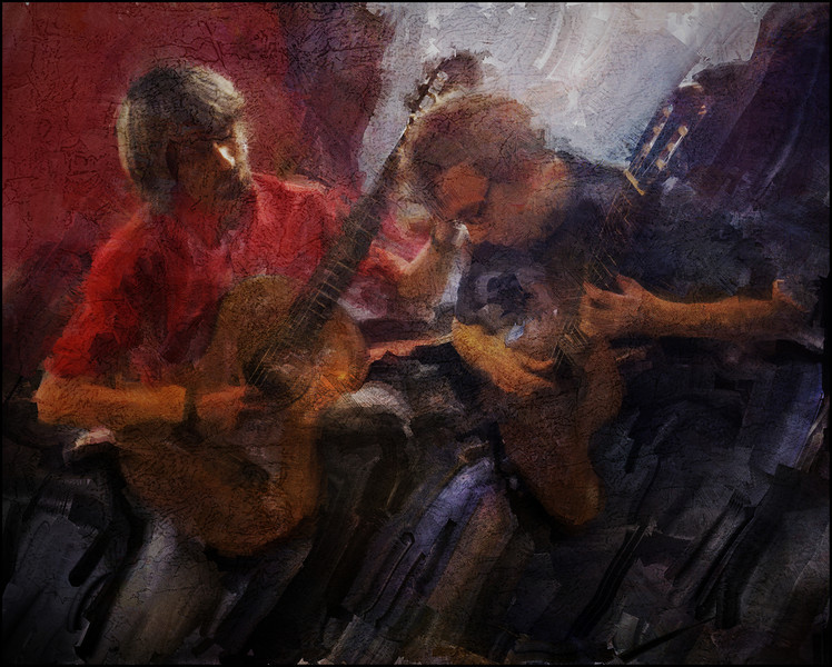 """Parallet Duo. Allan Sjølin and  Martin Buono of the <a href=""""http://da-dk.facebook.com/pages/Copenhagen-Guitar-Duo/114896725207016?sk=info"""">Copenhagen Guitar Duo</a>. during the 2011 Copenhagen Jazz Festival. Photo painted with digital sargent brush in Corel Painter + texture layers."""