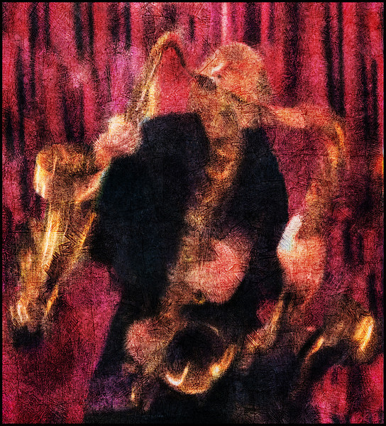 Swing Sax.<br /> Bob Rockwell, sax at Tango y Vinos, Copenhagen.<br /> Layering of 3 separate photos made with slow shutterspeed, then photopainted with digital smeary oil brush in Corel painter + texture layers.