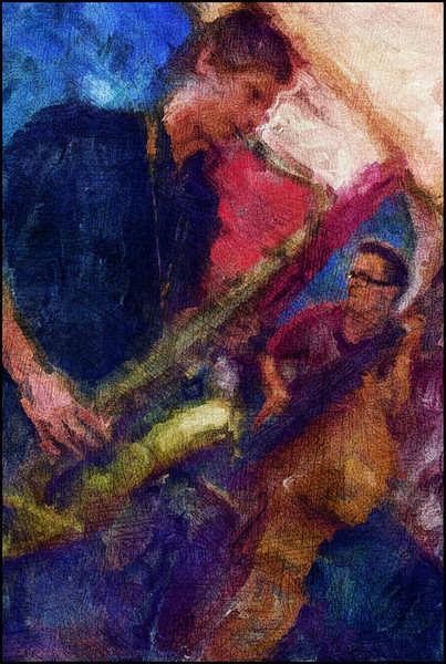 Brass and Strings.<br /> Lubos Soukup,: sax and Joel Illerhag: bass at Tango y Vinos, Copenhagen.<br /> Photo paint with digital sargent brush in Corel painter + texture layer.