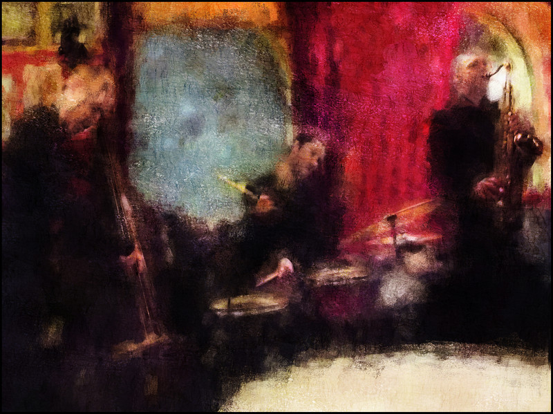 Bob´s Band.<br /> Klaus Kaaarsgaard, bass, Morten Hæsum, drums and Bob Rockwell, sax at Tango y Vinos, Copenhagen.<br /> Photo painted with digital impressionist chalk brush in Corel Painter + texture layers.