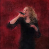 "Song in Black. Vocalist <a href=""http://www.mettelethan.dk/"">Mette Lethan</a> at Tango y Vinos. Photo paint made with digital impressionist chalk brush in Corel Painter + texture"