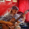 "Guitar.<br /> Ricardo Enrique in ""Tango & Vinos"" bar.<br /> Photo painted with digital sargent brush in Corel Painter + texture layers."