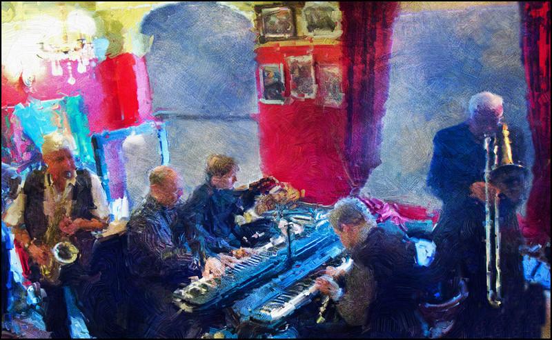 "Piano Battle with Brass Support.<br /> Kim Menzer: sax - Tom Skovgaard, Lasse Jensen and Hans Knudsen: piano -  Ole ""Fessor""  Lindgren: trombone at Tango y Vinos during the Copenhagen Harbour Jazz Festival 2011.<br /> Photo painted with digital impasto oil brush + texture layers."
