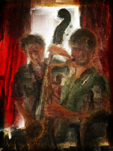 """Sax Bass.<br /> Anders Bast on sax and Mathias Wedeken on bass at """"Tango & Vinos"""" bar.<br /> Photo painted with digital sargent brush in Corel Painter + texture layers."""
