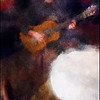 Solo Table.<br /> Jacob Gurevitch playing classic spanish guitar at Tango y Vinos, Copenhagen.<br /> Photo painted with digital impressionist chalk brush in Corel painter with added texture layers.