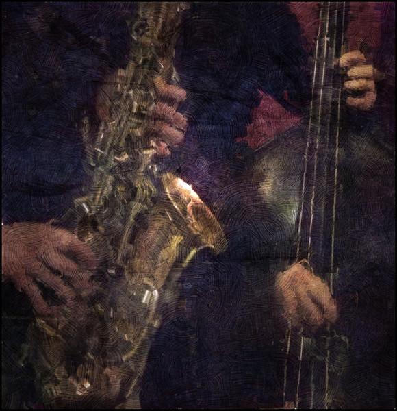 Fingers.<br /> Christina von Bülov, sax and Klaus Kaarsgaard, bass at Tango Y Vinos, Copenhagen.<br /> Photo painted with digital impasto oil brush in Corel Painter + texture layers.