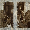 """Cool and Furious.<br /> Qarin Wikström at """"Tango & Vinos"""" bar.<br /> Sepia toned photos layered on a sheet of whitewashed, scratched plywood."""