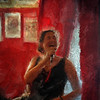 "Jazz Singer.<br /> Camilla Dayyani at ""Tango & Vinos"" bar.<br /> Photo painted in Corel Painter with digital sargent brush + texture layers."