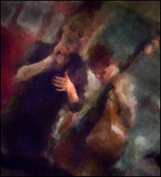 Song Gesture.<br /> Pernille Mejer: vocal and Mathias Højgaard Jensen: bass at Tango y Vinos, Copenhagen, Denmark.<br /> Photo painted with digital chalk brush in Corel Painter + texture layers.