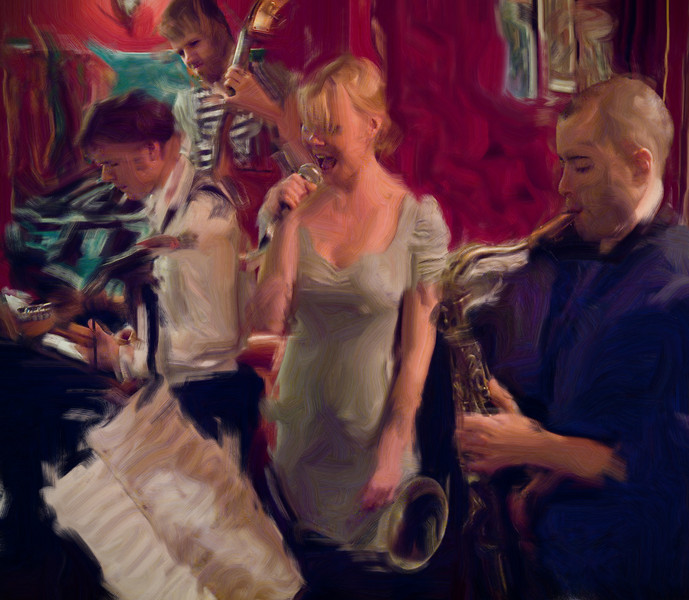 The Music.<br /> Guitar Troels Frost, bass Anders mandrup,vocal Line Bøgh and sax Steve Green of Nova Blue Band, at Tango y Vinos Bar, Copenhagen, Denmark.<br /> Photo,painted with digital smeary oil brush in Corel Painter.