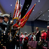 The Monty Tech jROTC Honor Guard present the colors during the playing of The Star Spangled Banner at the opening of the Thayer Symphony Orchestra's 'Tribute to our Vetrans' at Dukakis Auditorium on Saturday night. SENTINEL & ENTERPRISE / Jim Marabello