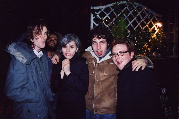 With tour mates The Dears in Reading, England (2005) Around this time, Murray (2nd from left) began having dreams that Morrissey asked The Dears to open for him. Not long after this tour, it happened.