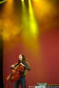 Joe Kwon of The Avett Brothers performs at The Citrus Bowl in Orlando, Florida during Orlando Calling on November 12, 2011