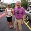 Walter Hetzel wears a Black Potatoe shirt while he joins Clinton's Mayor Janice Kovach for the Re-Opening of Clinton's downtown business district.  Friday, June 22, 2012.