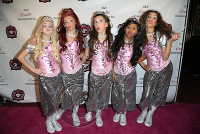 LOS ANGELES, CA - DECEMBER 15:  (L-R) Singers / dancers Jordyn Jones, Kyla Laufer, Hailey Paolillo, Anna Villaranda and Aspen Buck arrive at the 5 Little Princesses music showcase at Studio Instrument Rentals, Inc. on December 15, 2012 in Los Angeles, California.  (Photo by Chelsea Lauren/WireImage)