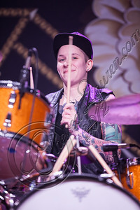 LOS ANGELES, CA - OCTOBER 12:  Drummer Hannah Blilie of Gossip performs at The Fonda Theatre on October 12, 2012 in Los Angeles, California.  (Photo by Chelsea Lauren/WireImage)