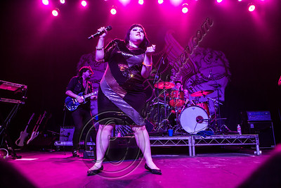 LOS ANGELES, CA - OCTOBER 12:  (L-R) Guitarist Brace Paine, vocalist Beth Ditto and drummer Hannah Blilie of Gossip perform at The Fonda Theatre on October 12, 2012 in Los Angeles, California.  (Photo by Chelsea Lauren/WireImage)