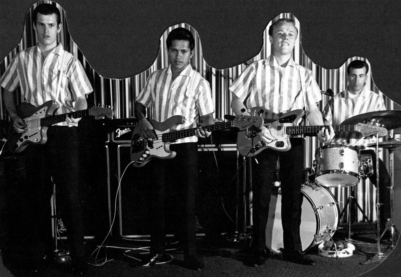 <font size=3><font color=white><font color=red><font size=3>band name<br><font color=white>The Hawaiian Shadows<br> <br><font size=2>Peppermint Lounge Waikiki Beach.  Rick Stock, Jet Kanani, Lee Henriksen and Spud Ivens, 1965