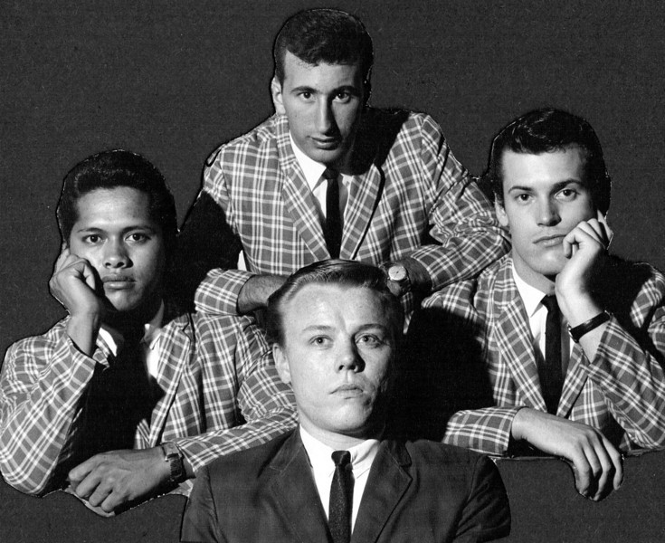 <font size=3><font color=white> <font color=red><font size=3>band name<br><font color=white>The Hawaiian Shadows. Smiling!<br> <br><font size=2> Jet Kanani, Spud Ivens, Rick Stock and Lee Henriksen, 1965